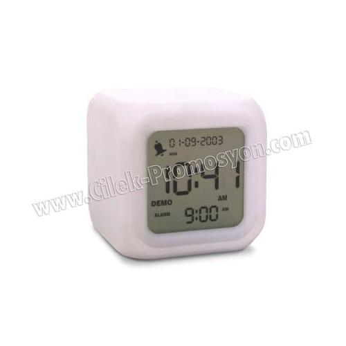 Ucuz Promosyon Termometreli Renk Değiştiren Masa Saati GMS248