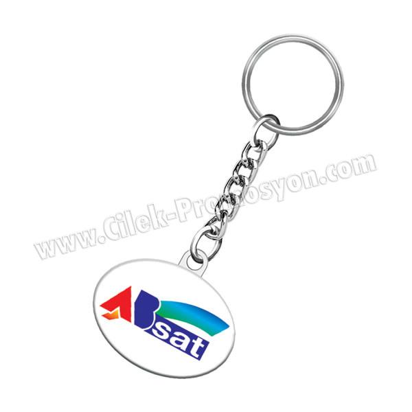 Ucuz Promosyon Zincirli Metal Anahtarlık Oval - Çift Taraflı AA1566-O